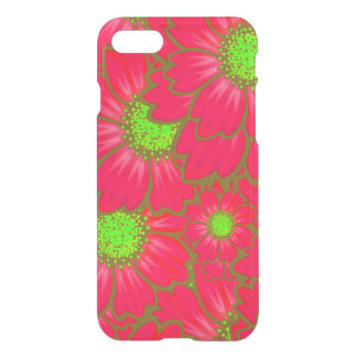Bright Red Lime Green Daisy Flowers Floral Pattern iPhone 7 Case
