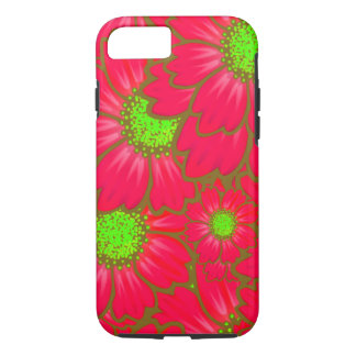 Bright Red Lime Green Daisy Flowers Floral Pattern iPhone 8/7 Case
