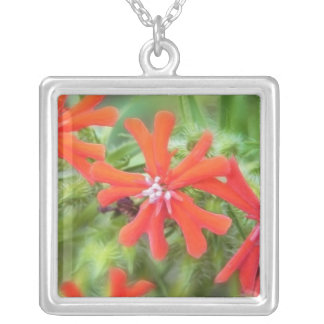 Bright Red Maltese Cross Silver Plated Necklace