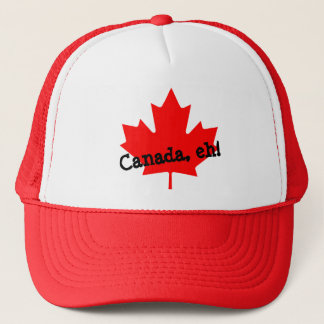 Bright Red Maple Leaf Canada eh! Trucker Hat