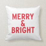 Bright Red Merry & Bright Throw Pillow