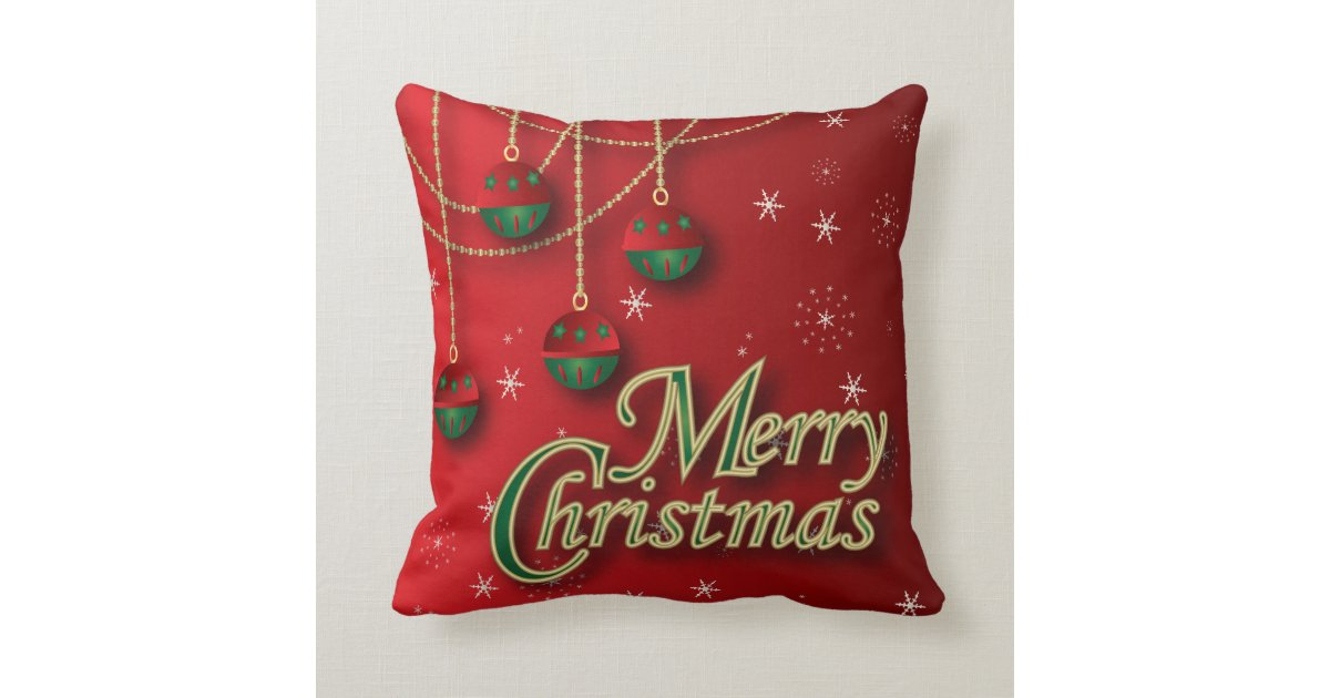 Dark Red Decorative Pillow : Bright Red Merry Christmas Decor Throw Pillow Zazzle