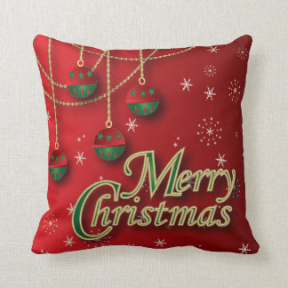 Bright Red Merry Christmas Decor Throw Pillow