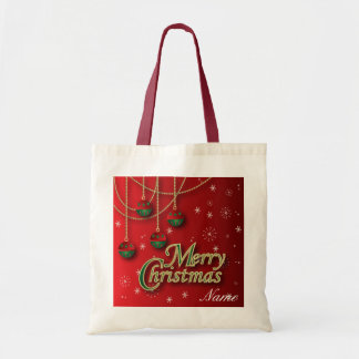 Bright Red Merry Christmas Ornaments Tote Bag