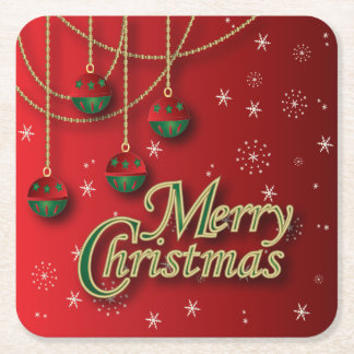 Bright Red Merry Christmas Square Paper Coaster