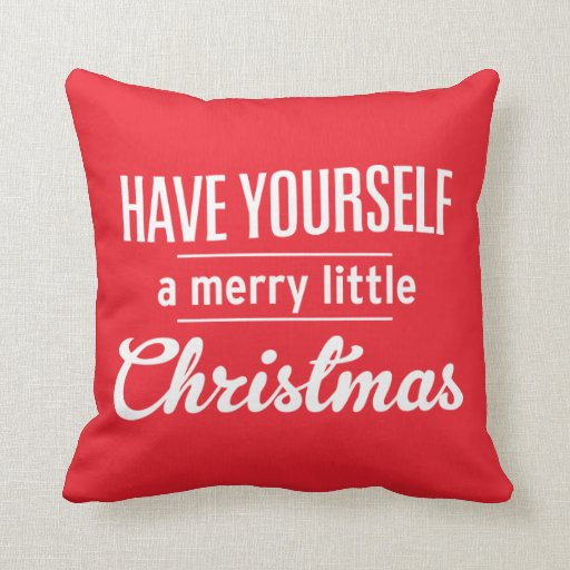 Bright Red Merry Little Christmas Pillows