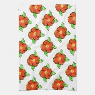 Bright Red Orange Floral Towel