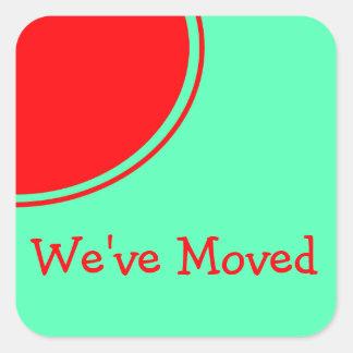 Bright red orange green Moving Announcement Square Sticker