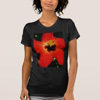 Bright Red Orange  Hibiscus Flower Shirt