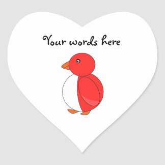 Bright red penguin heart sticker
