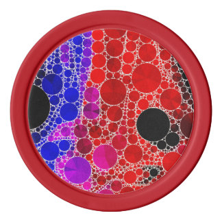 Bright Red Pink Blue Abstract Poker Chips Set