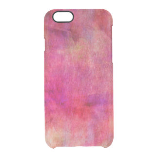 Bright Red Pink Watercolor Background Clear iPhone 6/6S Case
