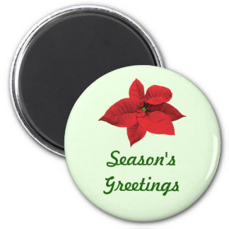 Bright Red Poinsettia 2 Inch Round Magnet