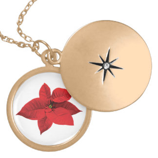 Bright Red Poinsettia Round Locket Necklace