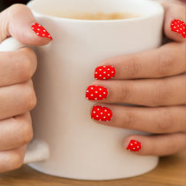 Bright Red Polka Dots Minx Nail Art
