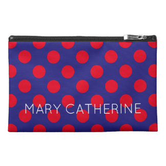 Bright Red Polka Dots on Deep Blue Personalized Travel Accessory Bag