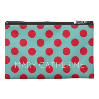 Bright Red Polka Dots on Light Teal Personalized Travel Accessory Bag