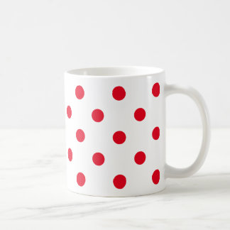 Bright Red Polka Dots on White Coffee Mug
