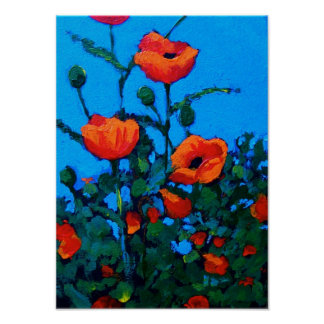 Bright Red Poppies: Blue Sky: Oil Painting Poster