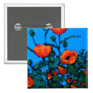 BRIGHT RED POPPIES PINBACK BUTTON
