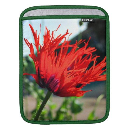 Bright Red Poppy Flower iPad Sleeve