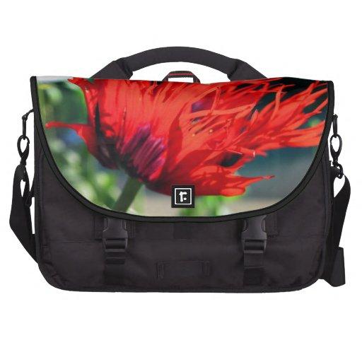 Bright Red Poppy Flower Laptop Messenger Bag