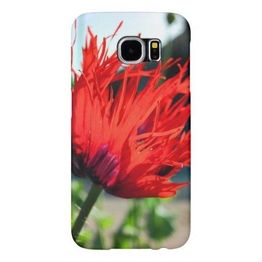 Bright Red Poppy Flower Samsung Galaxy S6 Cases