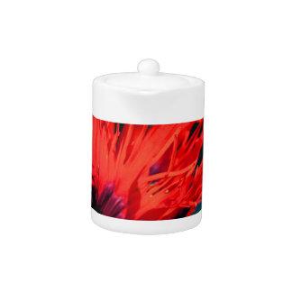 Bright Red Poppy Flower Teapot