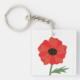 Bright Red Poppy Stem Keychain