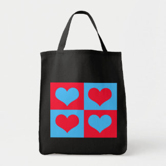 Bright Red Punch & Blue Razz Heart Blocks Tote Bags