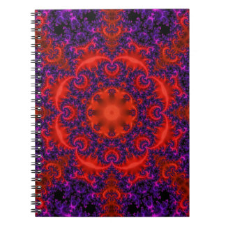Bright Red Purple Fractal Notebook