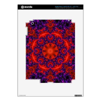 Bright Red Purple Fractal Skins For iPad 3