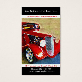 Bright Red Restored Vintage Auto Photo Business Card
