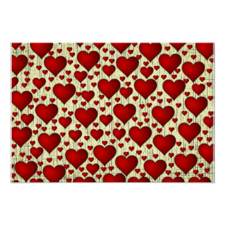Bright Red Romantic Hearts Pattern Poster