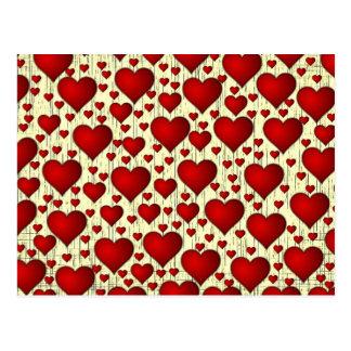 Bright Red Romantic Hearts Pattern Valentine Postcard
