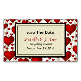 Bright Red Romantic Hearts Wedding Save The Date Business Card Magnet