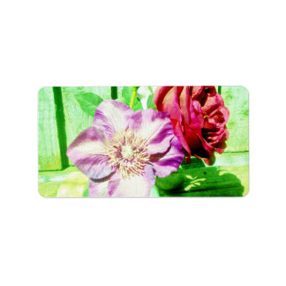 Bright Red Rose and Pink clematis in a vase Custom Address Label