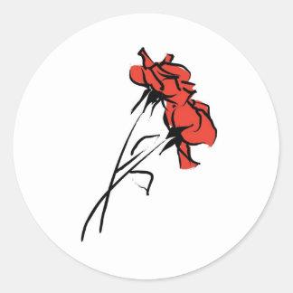 Bright Red Rose Brushstroke Classic Round Sticker