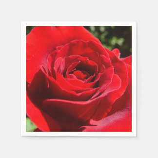 Bright Red Rose Flower Beautiful Floral Paper Napkin