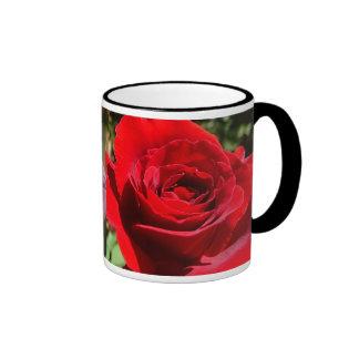 Bright Red Rose Flower Beautiful Floral Ringer Mug