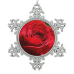 Bright Red Rose Flower Beautiful Floral Snowflake Pewter Christmas Ornament