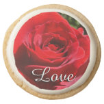 Bright Red Rose Flower Romantic Love Round Shortbread Cookie