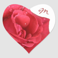 Bright Red Rose Monogram Envelope Seals Heart Stickers