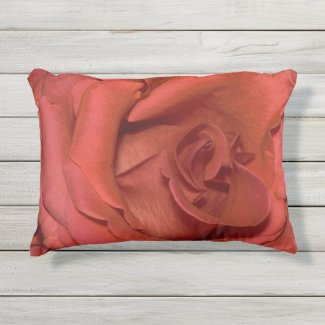 bright red rose outdoor pillow