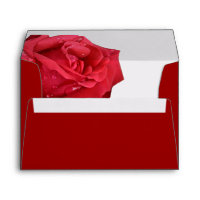 Bright Red Rose Personalized Envelopes
