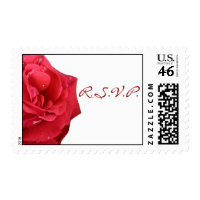 Bright Red Rose RSVP Postage