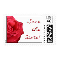 Bright Red Rose Save the Date Postage