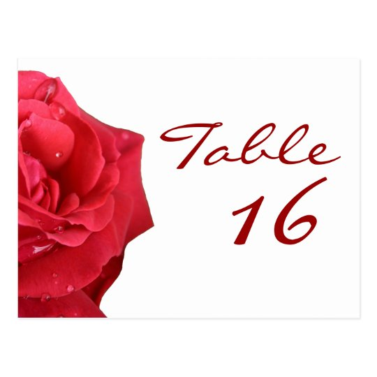 Bright Red Rose Table Number Cards