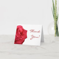 Bright Red Rose Thank You Cards