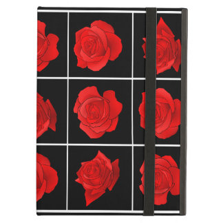 Bright Red Rose Vector Flowers on Black iPad Air Case